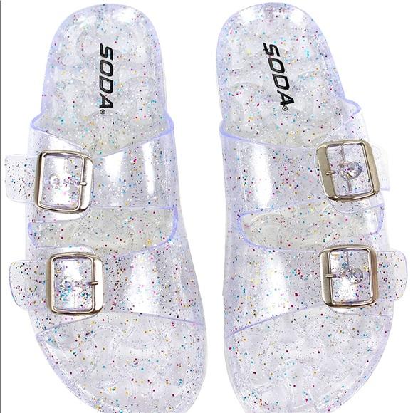 SODA Double Buckle Jelly Sandal (Glitter Clear)